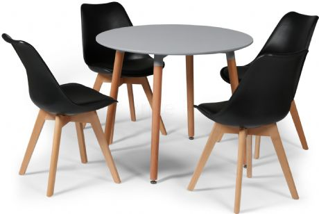 Toulouse Tulip Eiffel Designer Dining Set Grey Round Table & 4 Black Chairs Sale Now On Your Price Furniture